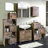 Badezimmermöbel holz rustikal  Woodkings Bad Set Kalkutta 5teilig hängend recyceltes Holz rustikal ...
