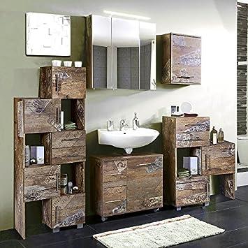 Badmöbel Set 5 Teilig Panama Eiche Badezimmer Komplettset