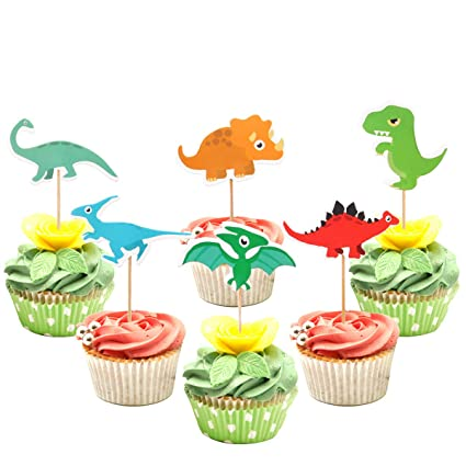 Winrase - Juego de 24 adornos de dinosaurio para decoración ...