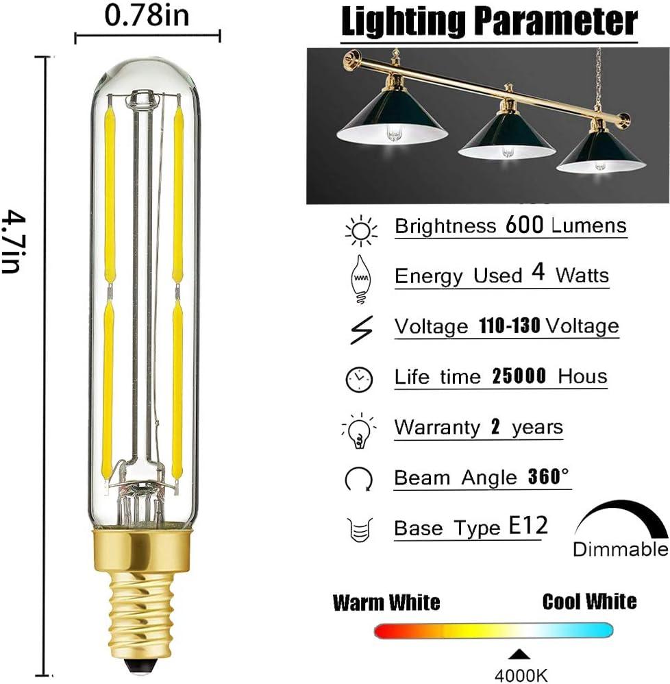 Transparent Glass,E12,Pack of 6 HXMLS T6 LED Candelabra Bulb E12 4w Dimmable Led Filament Tubular Tube Light Bulbs,60Watt Incandescent Bulb Equivalent,4000K Daylight White