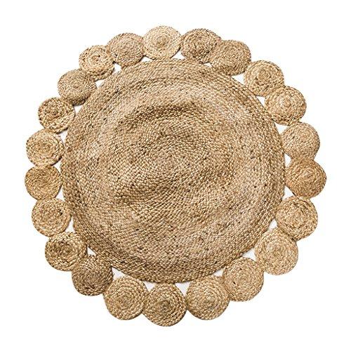 LOFAMI Alfombras redondas tejidas a mano de yute natural de yute natural, alfombras de sala de estar gruesa ( Color : F ,...