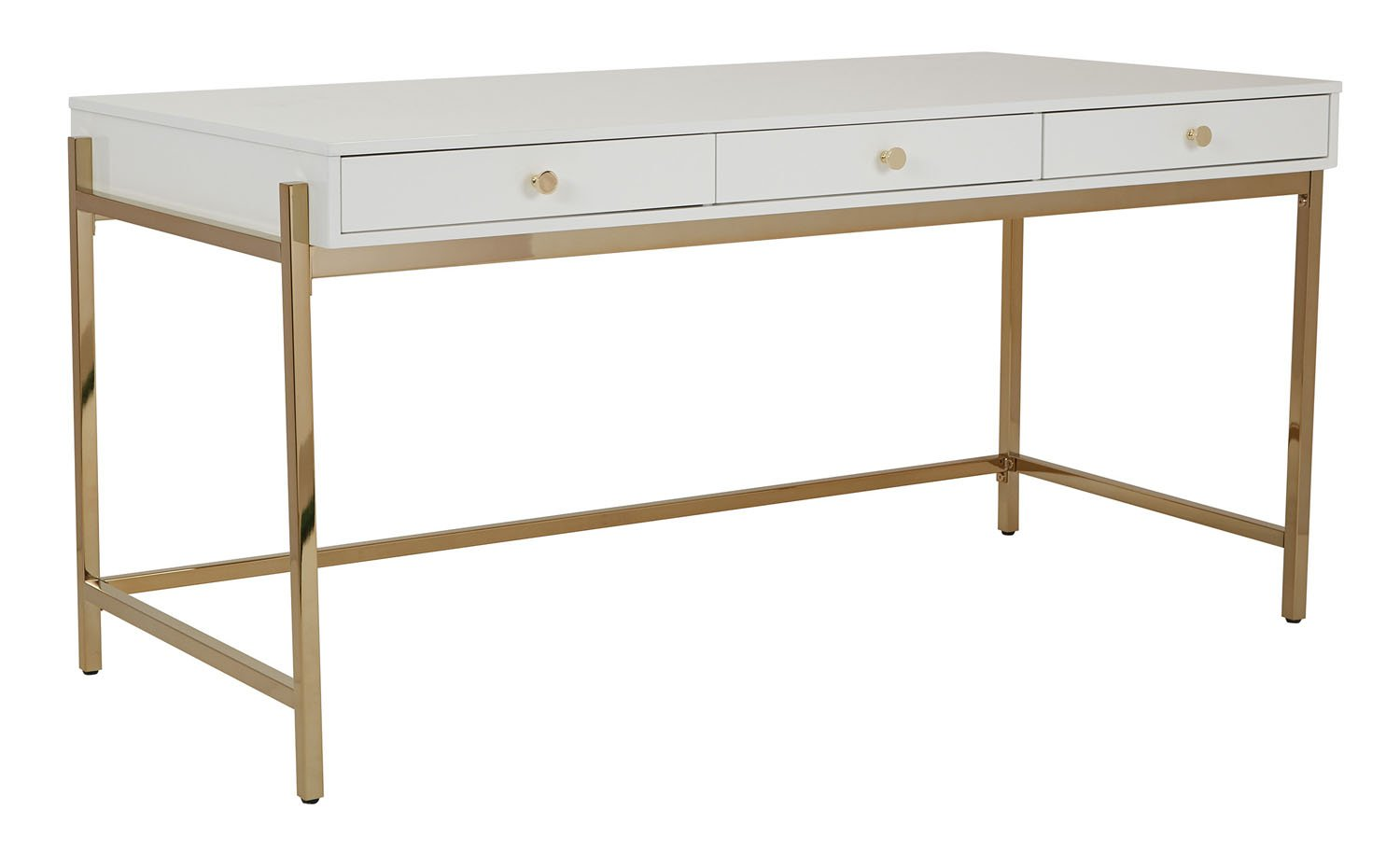 OSP Designs Park Avenue Writing Desk in White and Gold