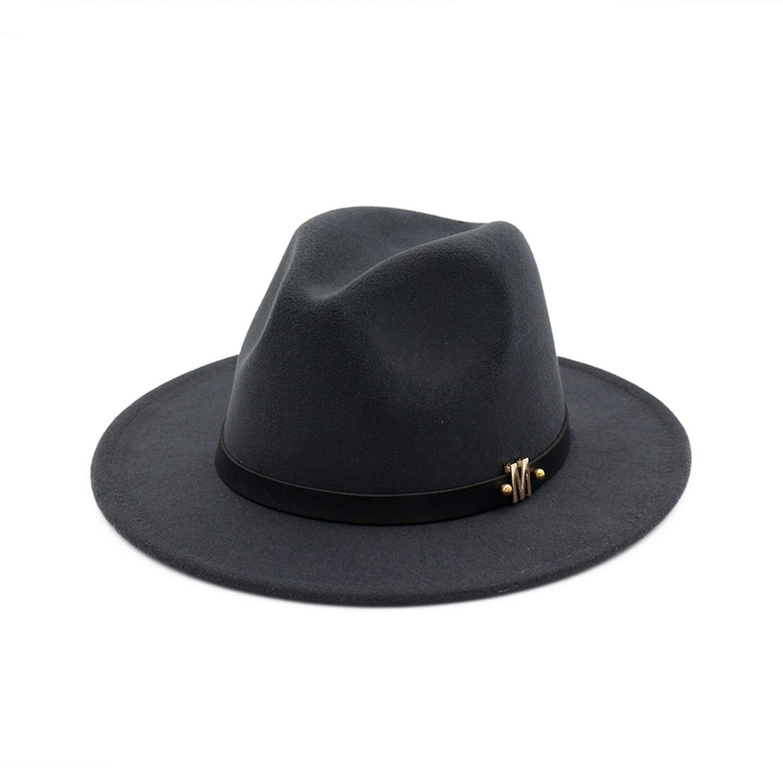 XINBONG Trend M Letter Leather Decoration Wool Felt Jazz Fedora Hats Men Women Flat Brim Panama Gambler Hat Trilby
