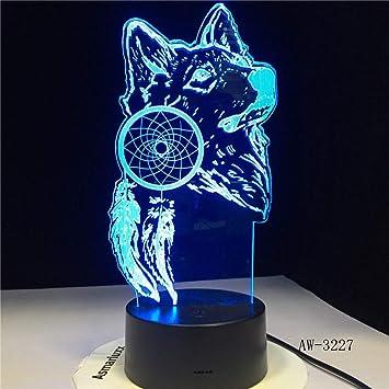 wangZJ Lámpara de escritorio de mesa de luz nocturna 3d / 7 ...