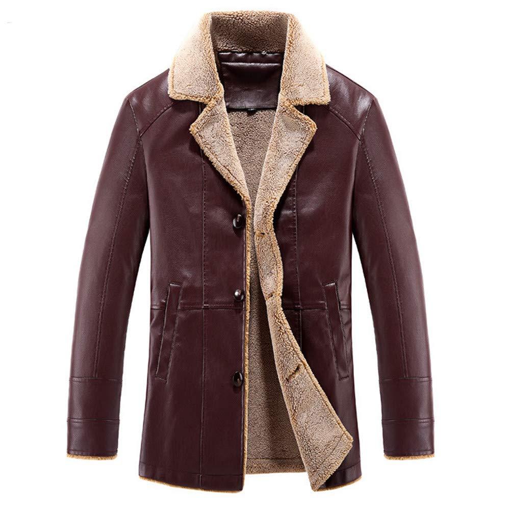 Red 3XL Red 3XL Ennglun Mens Windbreaker,Men's Winter Medium Length Lapel Cashmere Imitation PU Leather Coat,Winter Coats for Men(3XL,Red)