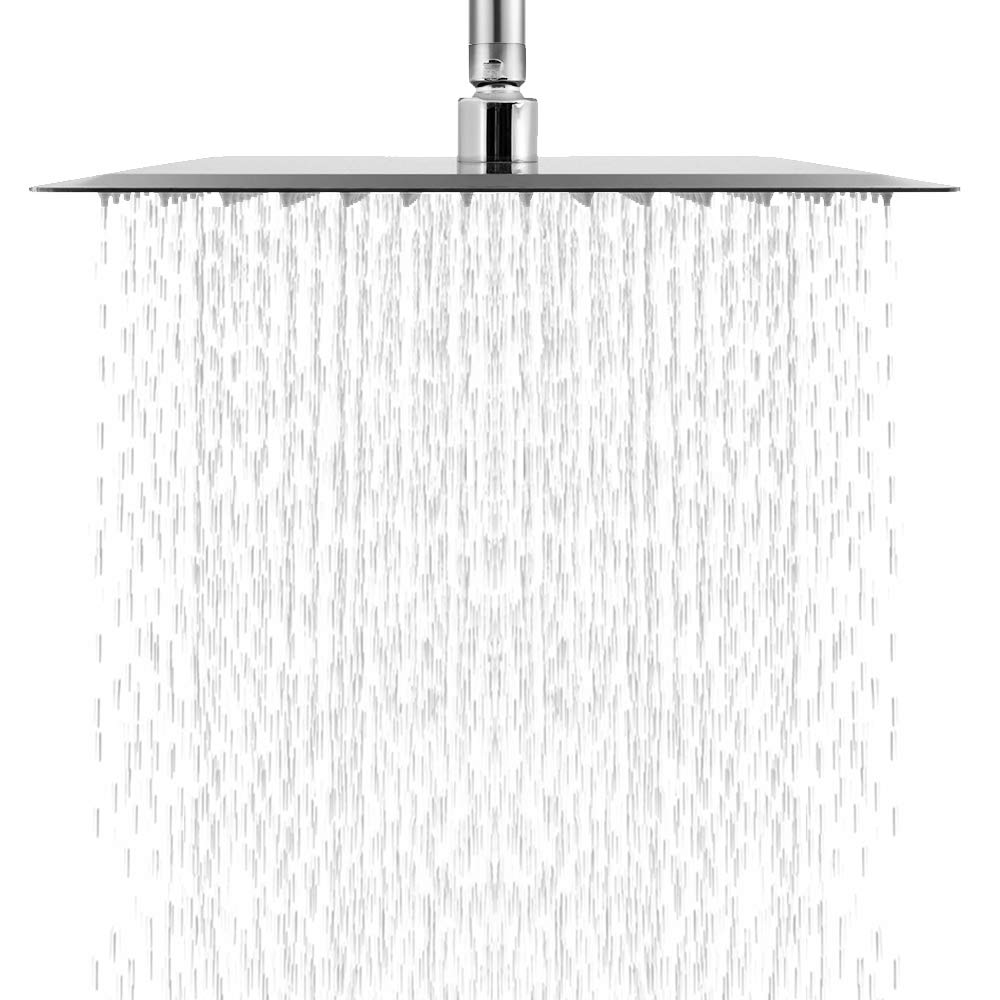 Logmey LM0012S-B Solid Square Ultra Thin 304 Stainless Steel 12 Inch Adjustable Rain Shower Head, Chrome Finish Chrome 12 inch