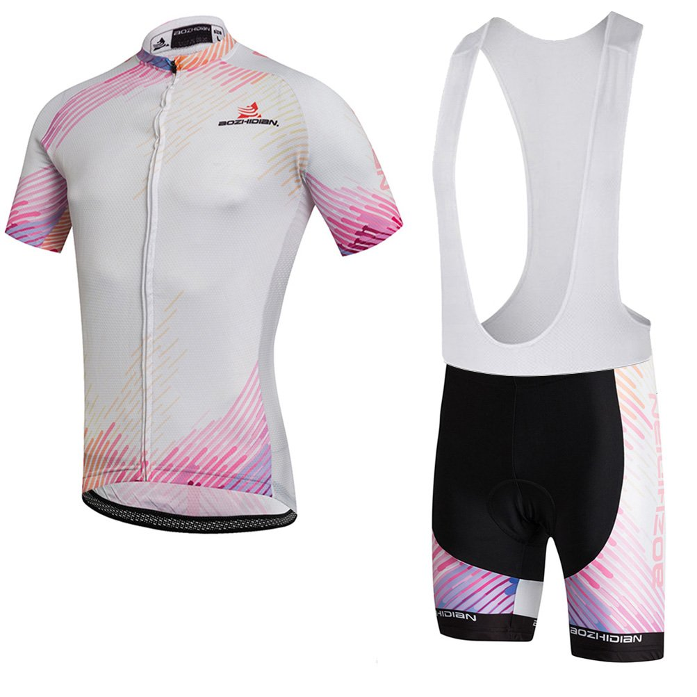 Uriah Women's Cycling Jersey White Bib Shorts Sets Short Sleeve Pink White Size M(CN) by Uriah