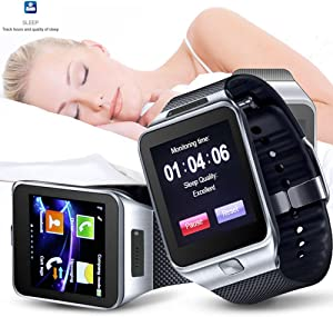 Indigi Unlocked! 2-in-1 SIM-Card + Bluetooth 2-in-1 interconvertible Smart Watch Phone for All Android OS Smartphone & iPhone iOS (Silver)