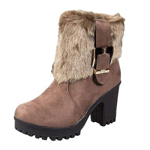 Tefamore Zapatos de Mujer Botines Zapatos Casual de Mujer Martíns Botas Señoras Moda Otoño Invierno Tacón Alto Cremallera Hebilla Plataforma Zapatos: ...