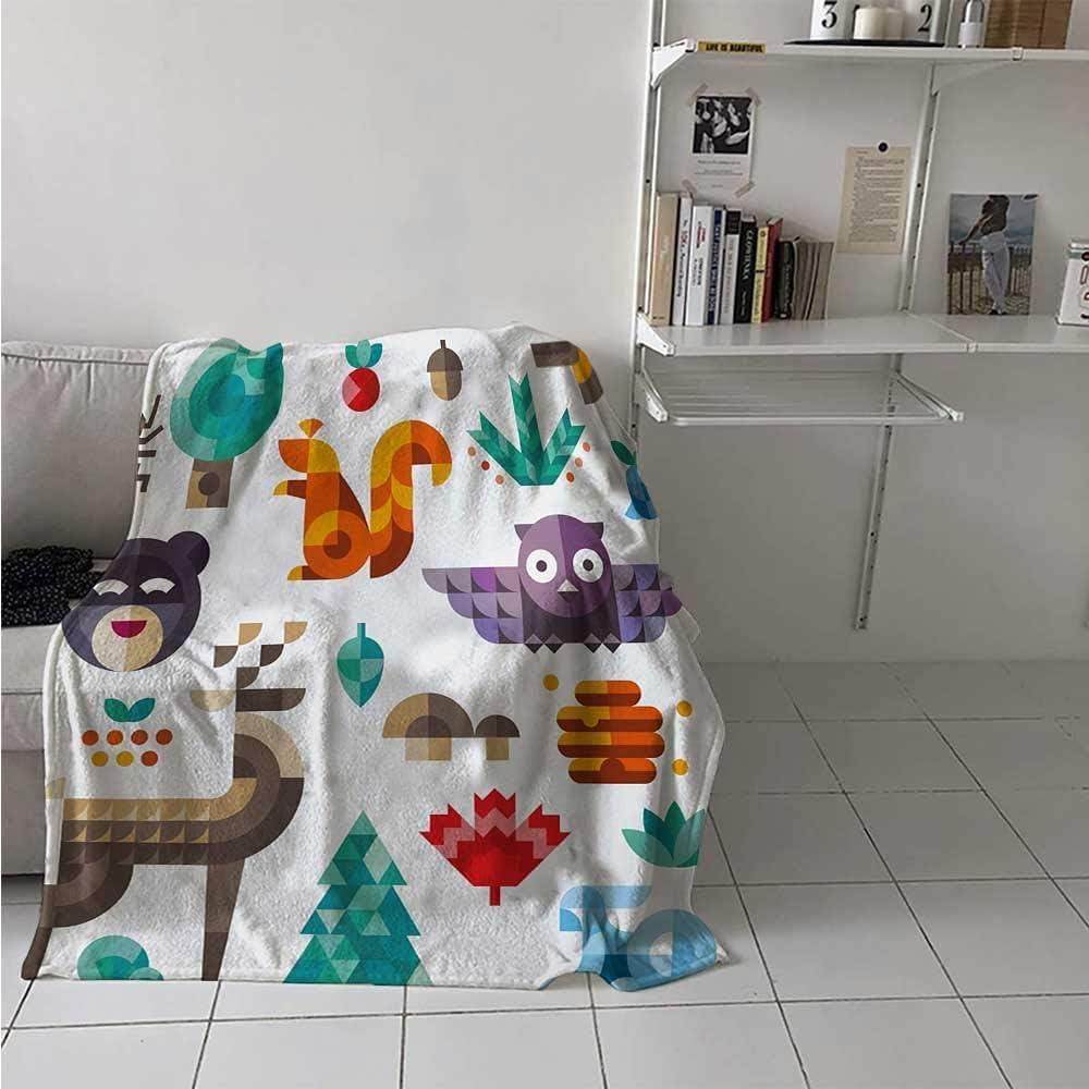 Nazi Mie Manta de patrón para niños Cute Poly Poly Animals Owl Bear Bunny Apple Dear Nursery Flannel Blanket
