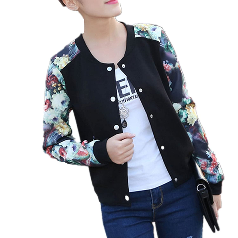 LOBTY Frauen Floral Printed Kurze Jacke Frühling Langarm Zipper Blazer Mantel Outwear Trenchcoat