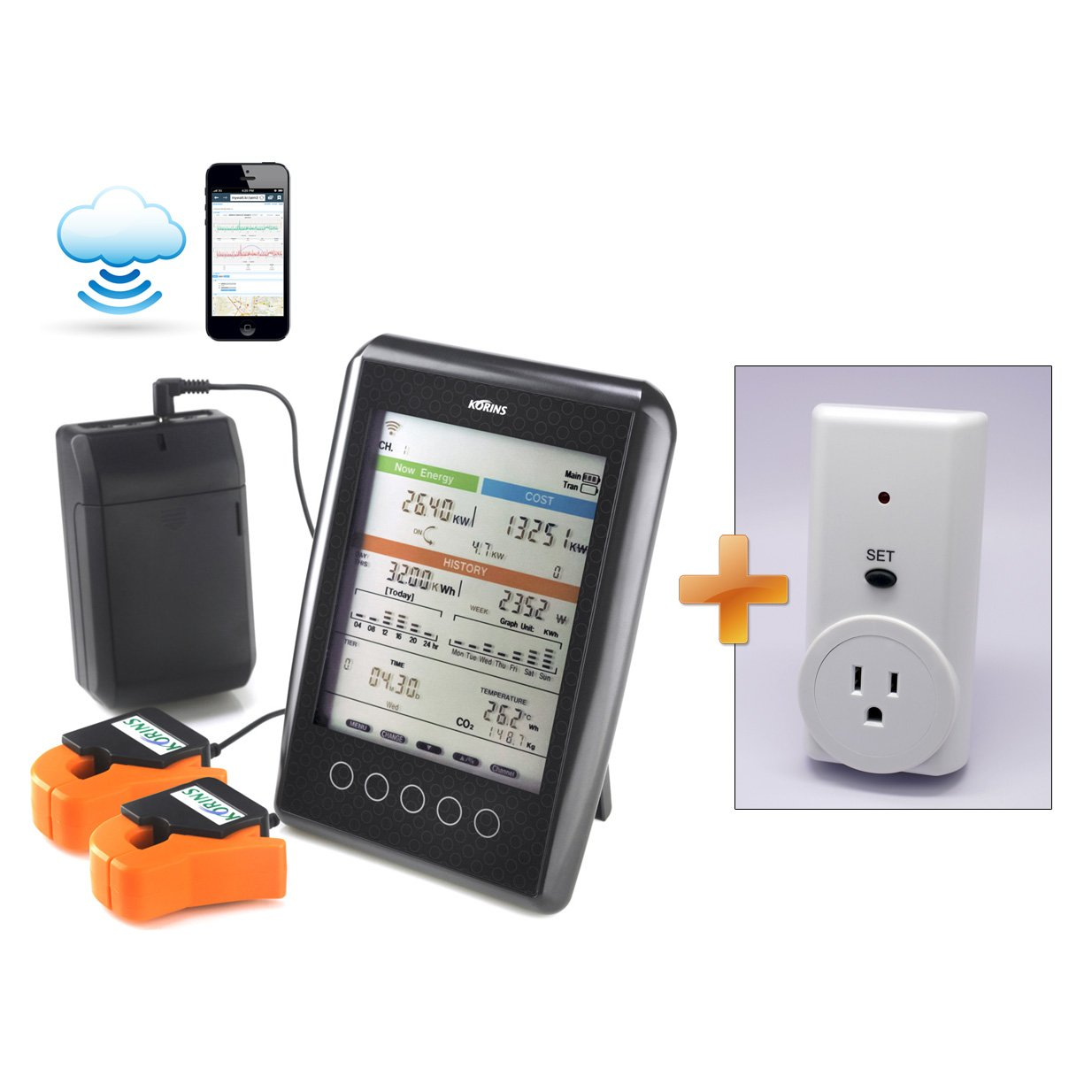 Korins MyWatt 10ch. Wireless Electricity Monitor with Cloud Service, SEM3110B2 for USA