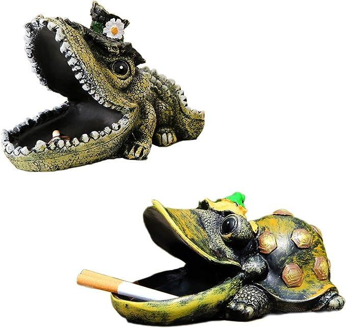 HKANG/® Posacenere Posacenere Creativo personalit/à Coccodrillo Tartaruga Ripulire Fuliggine da Tavolo Famiglia allaperto Decorazione,A