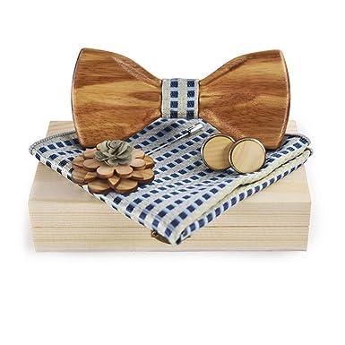 Jelinda Bow Tie Set Liens manchette broche en bois de noyer à la main et  ensemble de poche  Amazon.fr  Vêtements et accessoires 53708f2f326