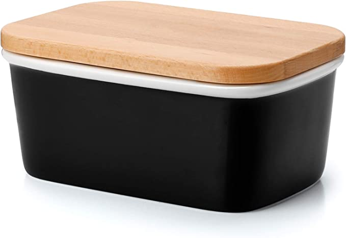Sweese 3153 Butter Dish Porcelain Keeper With Airtight Oak Wooden Lid  Stylish