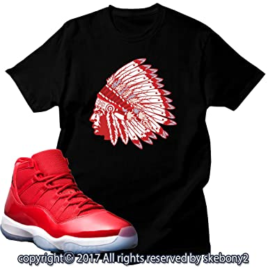 9139d2f24b6 Custom T Shirt Matching AIR Jordan 11 Win Like 96 Matching TEE Bulls red JD- 11-3-31 at Amazon Men's Clothing store: