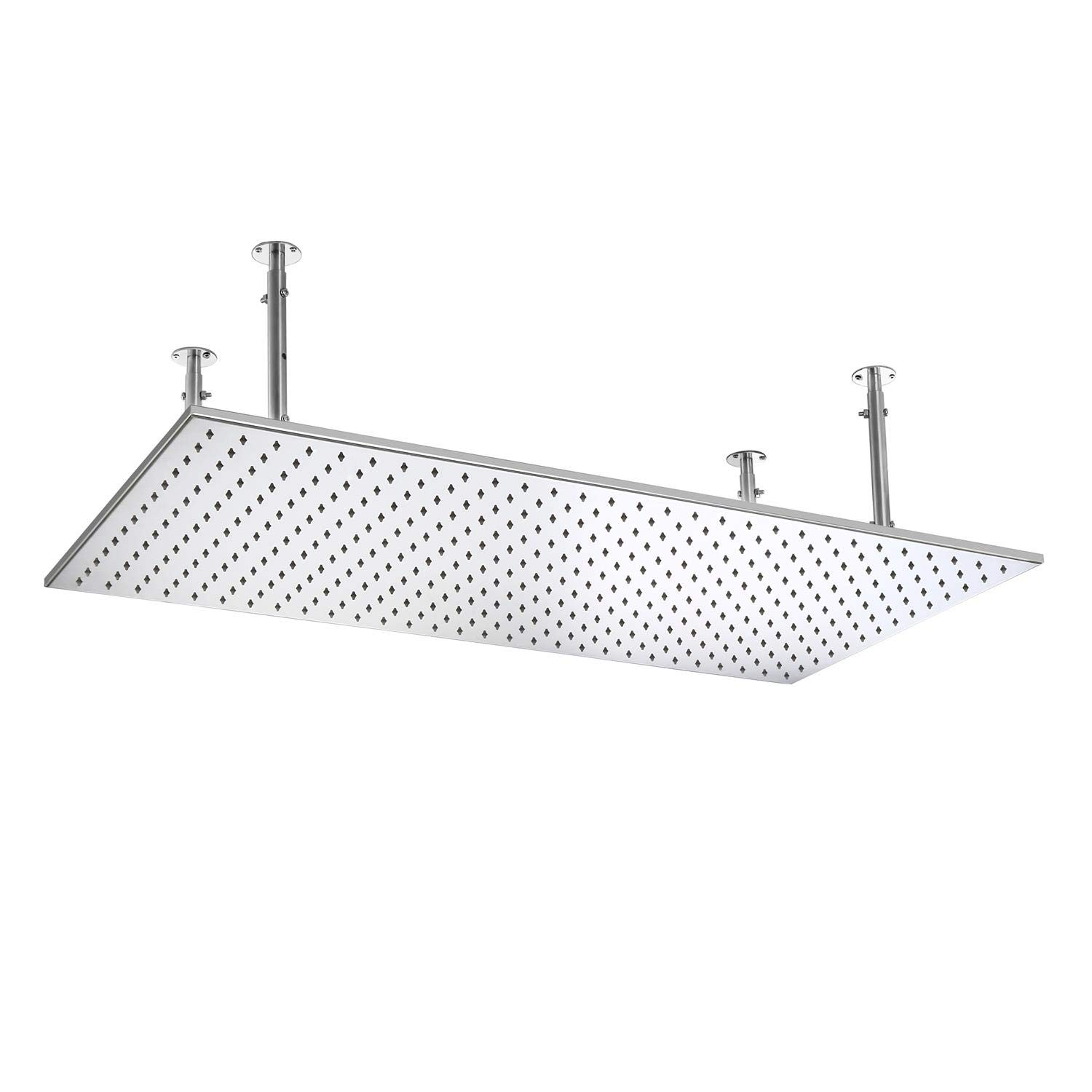 KunMai 20x40 LED Modern Luxurious Stainless Steel Rectangle Ceiling Mounted Rain Shower Head in Brushed Nickel with LED, Brushed Nickel
