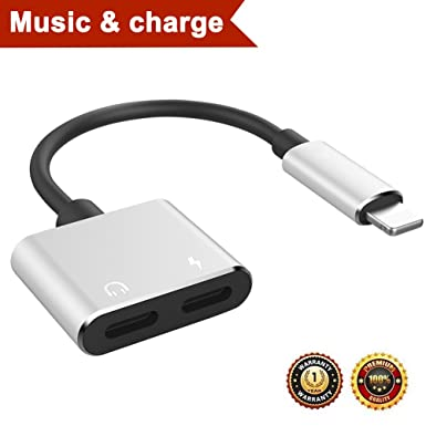 Lightning auriculares y adaptador de cargador para iPhone 7/7 Plus iPhone 8/8 Plus iPhone.AUX auricular conexión de audio convertidor y cable divisor ...