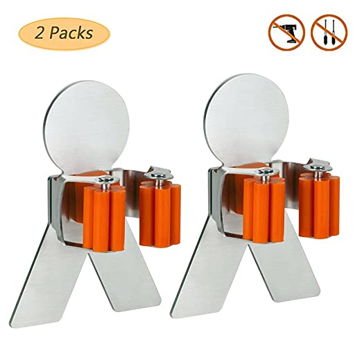 Amazon.com: 3 M fregona y escoba Holder – Acero inoxidable ...