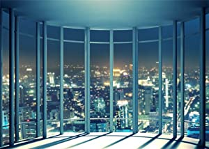 Leowefowa Vinyl 7X5FT Viewing Room Backdrop French Windows Skyscraper Shining Lights New York City Night View Romantic Wallpaper Photography Background Lover Adults Photo Studio Props