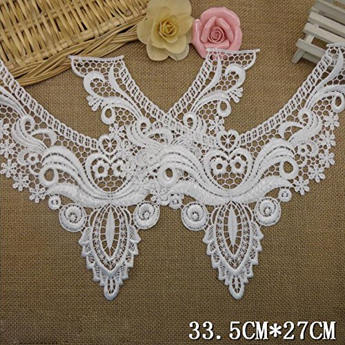 Pink Butterfly Lace (2 Pcs Flower Neckline Lace Collar Charming Sewing Applique Beige)