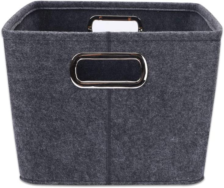 Dark Grey GZGZADMC Collapsible Storage Bins Foldable Felt Fabric Pet supplies storage Basket Organizer Boxes Containers with Metal Handles for Nursery Toys,Kids Room,Clothes,Towels,Magazine