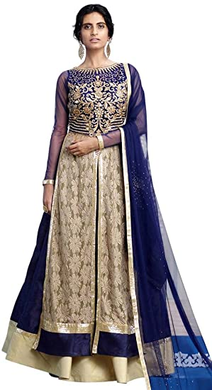 efe776f1b7 INMONARCH Navy Blue Raw Silk Indowestern Dress LSR505: INMONARCH:  Amazon.co.uk: Clothing