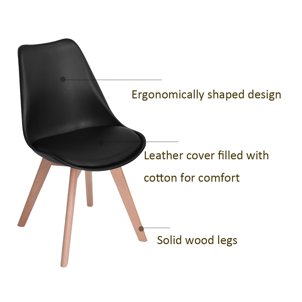 Modern Upholstered Eames Style Accent Dining Chairs Kitchen Chair with Soft Padded Seat Plastic Shell Wooden Legs for Bedroom Kitchen Set of 4,Black