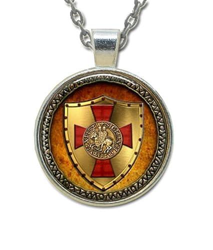 Masonic Glass Necklace Pendant Knights Of Templar Glowing Shield