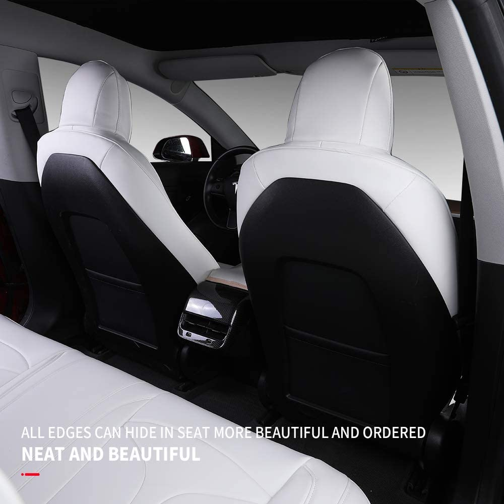 Black Xipoo Tesla Model 3 Seat Cover Nappa Leather Car Seat Covers Seat Protector Fit for Tesla Model 3