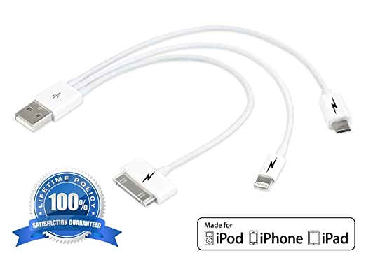 Amazon.com: 3 in 1 USB Charging Cable for iPhone 5 & 6. Universal ...