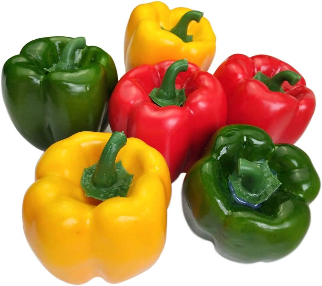 Lorigun Artificial Bell Peppers Fake Veggie Colorful Bell Peppers for Decoration, Decorative Vegetables, Red Green Yellow Bell Peppers 6Pcs (Each Color 2Pcs)
