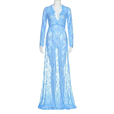 2d0cfb0e287 Pregnant Photography Women Lace Long Sleeve Transparent Sexy Evening Dress  Maternity Maxi Dress (Blue
