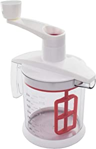 Tovolo Quick Mix Hand Beater Blender, Mess-Free Pour, Baking Tool with Non-Slip Base & Comfortable Handle, Easy Batter Mixer, Fade-Resistant Etched Measurements, White/Red