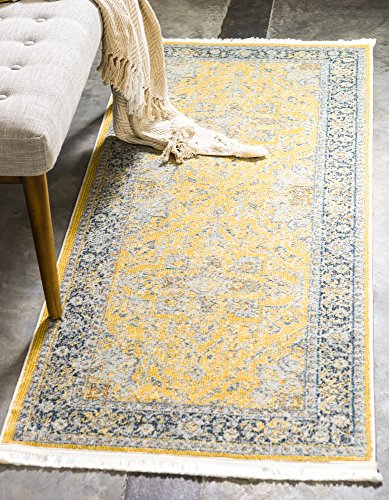 Unique Loom Baracoa Collection Bright Tones Vintage Traditional Yellow Runner Rug (2' 2 x 6' 0) (Carpet Runner Yellow)