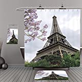 Uhoo Bathroom Suits & Shower Curtains Floor Mats And Bath TowelsEiffel Tower Decor Eiffel Natural Flowers Colorful Blossoms Cloudy Sky Perspective Paris Decor Print Gray GreenFor Bathroom