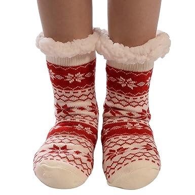 Kinlene Calcetines de algodón para mujeres de Navidad Imprimir gruesas antideslizantes Calcetines de piso Calcetines de alfombra: Amazon.es: Ropa y accesorios