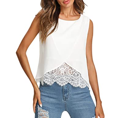 ca750378132 Ulanda-EU Womens Vest Tops Lace Patchwork Chiffon Tank Top Ladies Tops  Camisole Shirts Blouse Casual Summer Tunic Crop Tops Clothes for Women   Amazon.co.uk  ...
