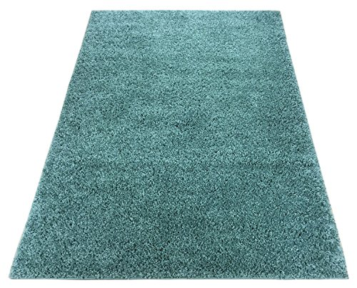 Shaggy Collection Solid Color Shag Rug Area Rugs Different Color Options Available (Light Teal Blue, 6'7