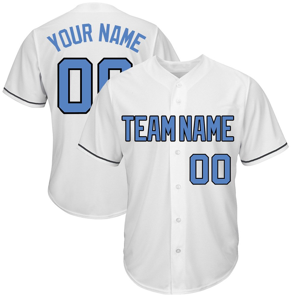 Custom Men's White Mesh Baseball Jersey Big & Tall with Embroidered Team Name Player Name and Numbers,Royal-Black Size 6XL by DEHUI