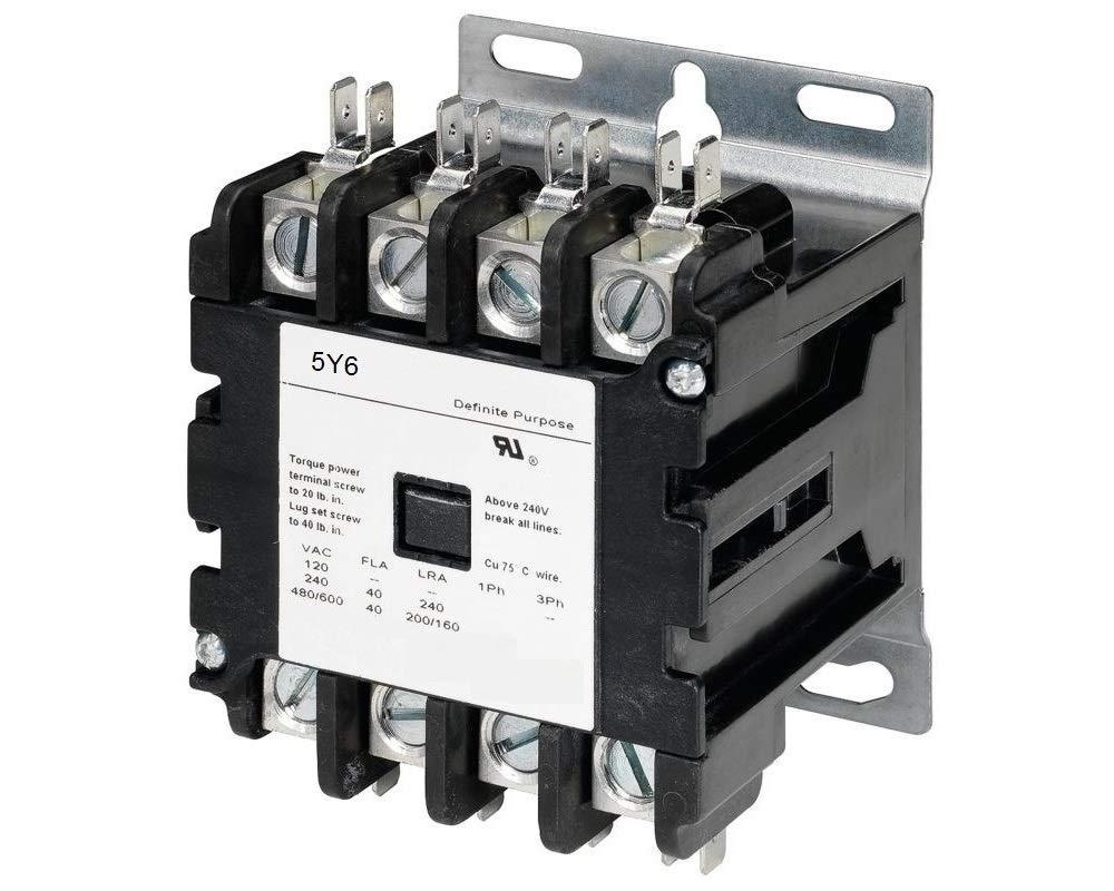 4 Pole, 40 Amps, 24VAC Coil, Definite Purpose Contactor, HVAC, Lighting, Refrigeration, Motor Control, 40A, 50A