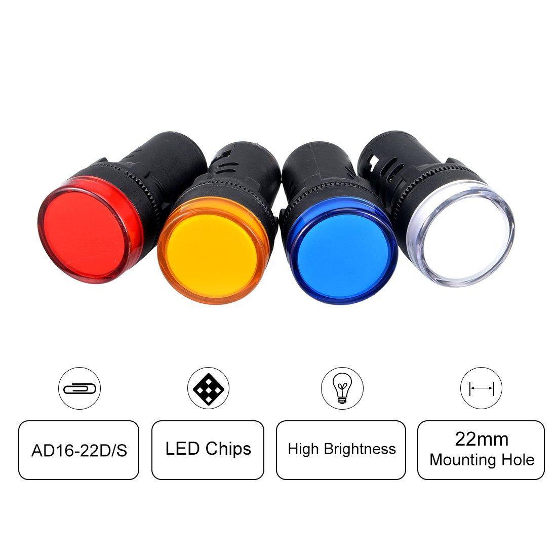 sourcing map 4PCS 12V 20mA Energy Saving LED Indicator Light Lamp Green Yellow Red