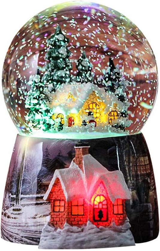 Snow Globes for Kids Boys - Girls Snow Globe Christmas Village Santa Snow Globe Winter Glitter Art Ball Rotate 7 Colors Change Light Musical Box Castle in The Sky Birthday Xmas Gifts