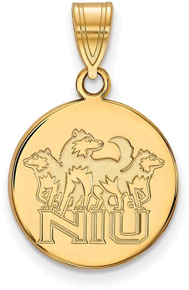 Gold-Plated 925 Silver Northern Illinois University Med Pendant LogoArt GP036NIU