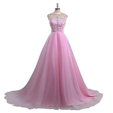 Scoop Neckline Crystal Shine Stones A Line Pink Prom Dresses Long 2018 Evening Dress Formal Gown