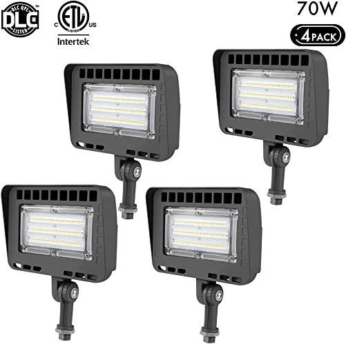 LIGHTDOT 4 Pack 70W LED Flood Light, 8400Lm 5000K Daylight White Knuckle Mount, IP65 Waterproof Super Brigh LED Security Light for Outdoor Doorways Gardens Yards, Advertising Boards and Parking Lot
