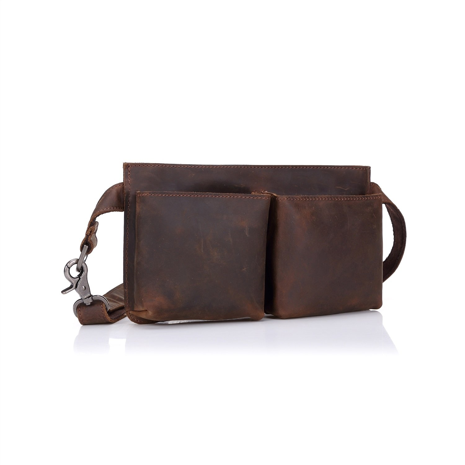 Shengjuanfeng Mens Waist Pack Leather Retro Crazy Leather First Layer Leather Shoulder Bag Color : Brown, Size : S