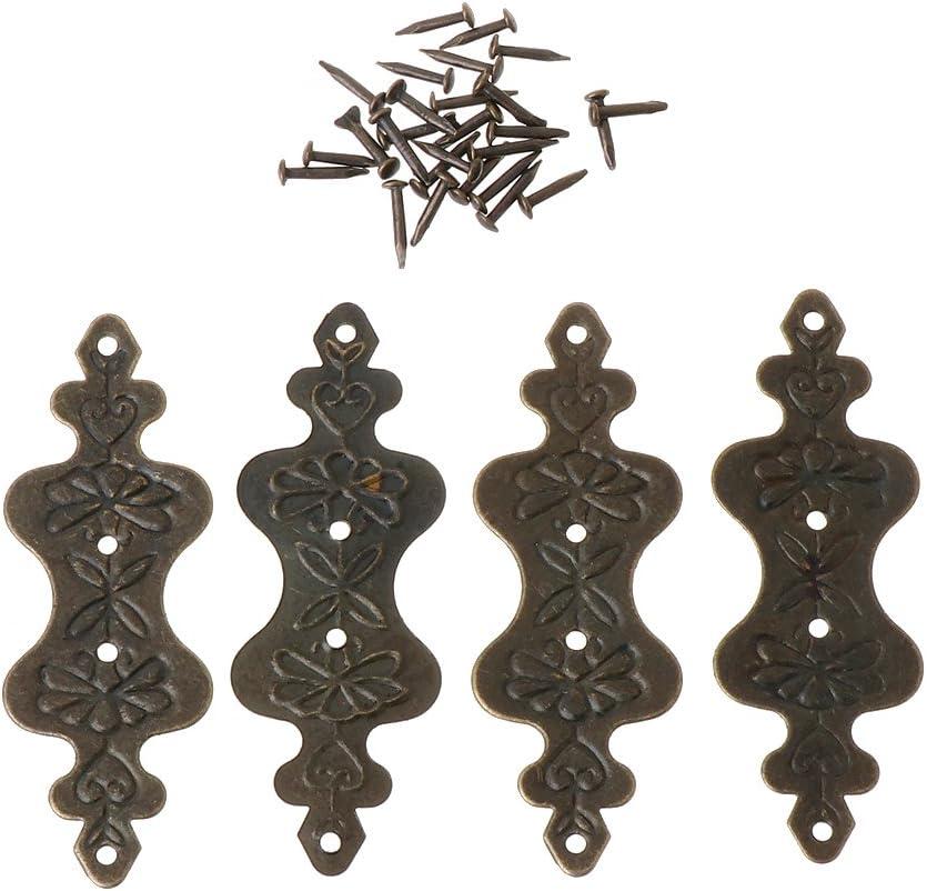 d/écoration couvertures de pieds protection dangle livres Lot de 4 bo/îtiers en laiton antique bo/îte /à bijoux