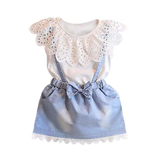 GOTD Baby Kids Girls Denim Dress Princess Party Fancy Flower Tutu Dresses (2-3Y