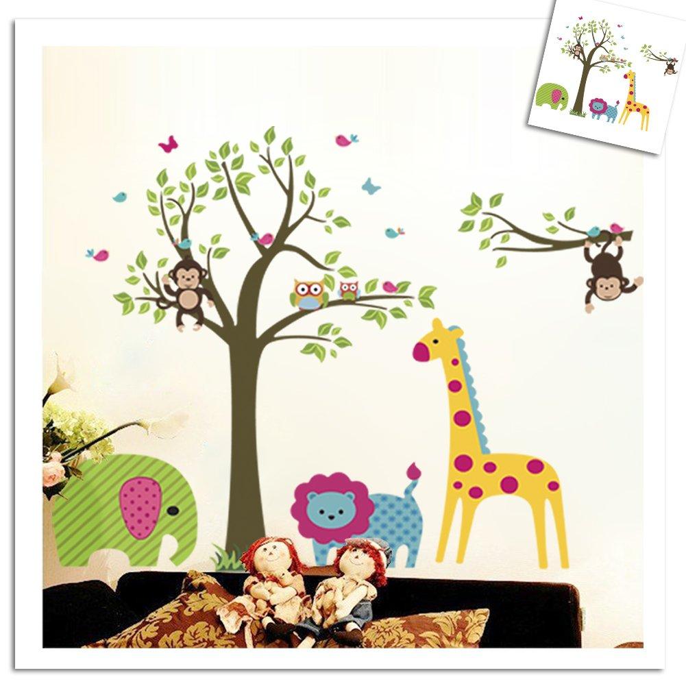 Amazon Colorful Tree Jungle Animals Wall Sticker Nursery